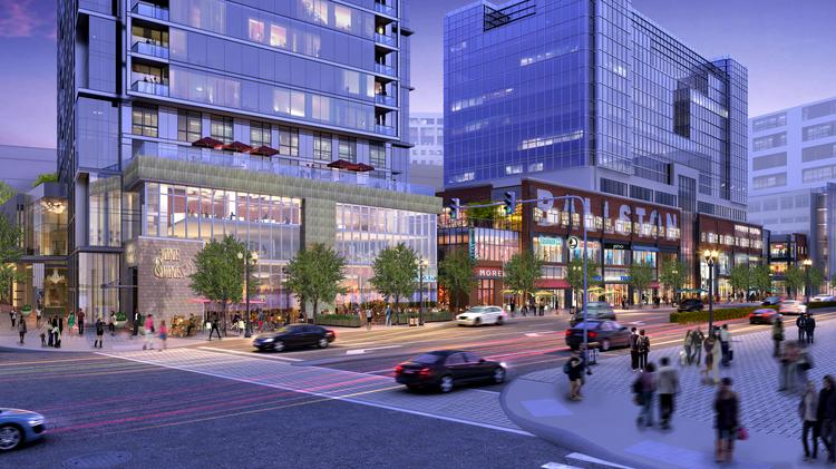 Rendering of the redeveloped Ballston Common Mall from the corner of Wilson Boulevard and N. Randolph Street, where Forest City will build a 393-unit residential tower and two levels of retail on the former site of the Macy's Furniture store.