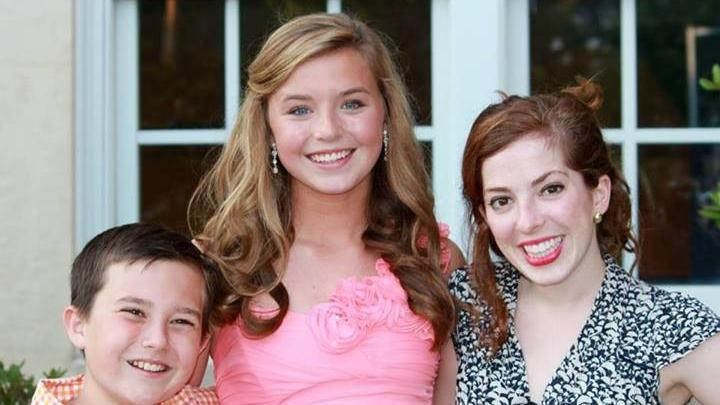 """Kate Marshall, 15 (center), was diagnosed with cystic fibrosis at the age of 7 months. She is flanked by brother Chase, 11, and cousin Bridgid Marshall. Kate and Chase's father, Patrick, said today after the drug data from Vertex was announced, """"What today is to me, is hope delivered,"""""""