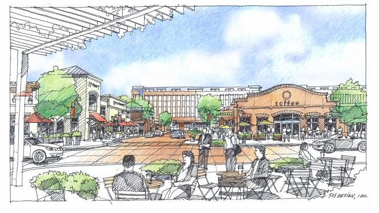 A rendering of Kingsley Village town center shows a corporate office building in the background.