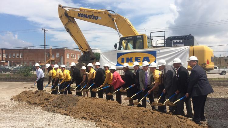Elected officials, Ikea representatives and organizers join together for the ceremonial groundbreaking of the St. Louis store on June 24, 2014.