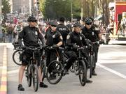 A heavy police presence was visible during the 13th Annual May Day March for Workers and Immigrant Rights.