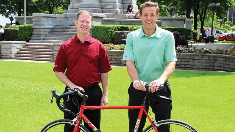Buffalo attorneys Tom Cunningham, left, and David Pfalzgraf say they and their employees are pumped up for the Ride for Roswell on June 27-28.