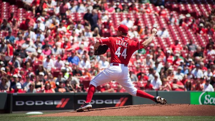 Reds pitcher Mike Leake in a recent game.