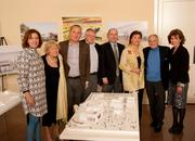 Celebrating the selection of the Grand Canopy design for the UC Davis Jan Shrem and Maria Manetti Shrem Museum of Art are, from left, museum director Rachel Teagle; Margrit Mondavi; three members of the team of Whiting-Turner (contractor), SO-IL (design architect), and Bohlin Cywinski Jackson (executive architect); Maria Menetti Shrem; Jan Shrem; and Chancellor Linda Katehi.