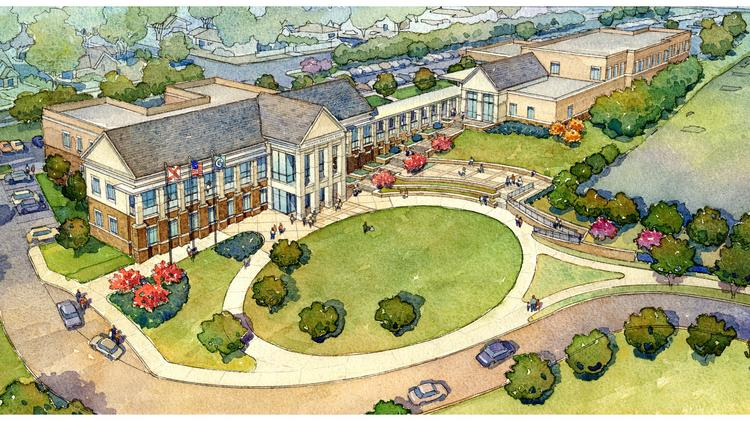 An aerial rendering of Vestavia Hills' new city hall complex.
