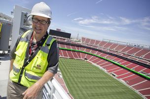 First Dallas, now Santa Clara. Levi's Stadium Project Executive Jack Hill, seen here on the venue's rooftop garden, has overseen construction of the 1.85 million-square-foot 49ers stadium after building another extremely high profile sports stadium for the Dallas Cowboys. He said the Silicon Valley venue marks the