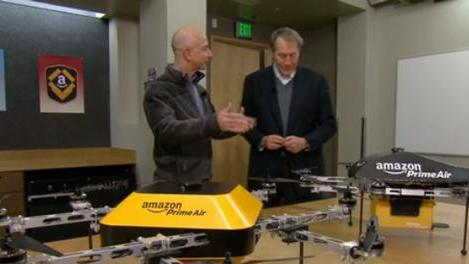 """Amazon CEO Jeff Bezos tells Charlie Rose from """"60 Minutes"""" about the company's drone program in a 2013 broadcast."""