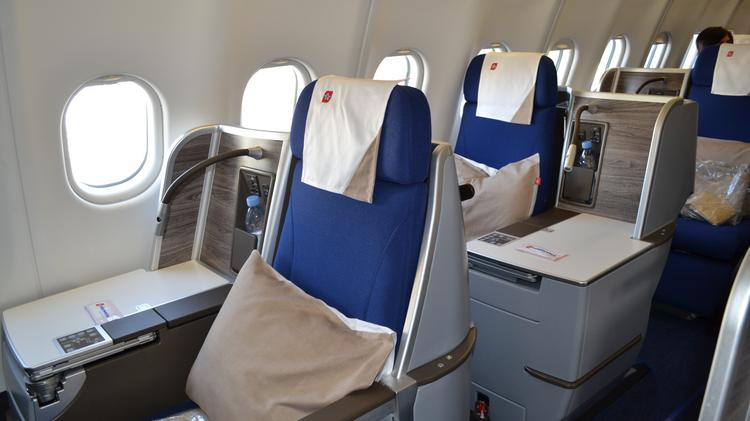 Spacious quarters in the business class section of Edelweiss Air's Airbus A330-300.