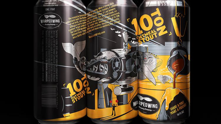 Warped Wing Brewing Company in Dayton will release its three core beers in cans in mid-July 2014. The three-can trilogy and illustration style starts in modern day timeframe with 10 Ton Oatmeal Stout. The setting is in an old, gritty metal foundry. The name is based on the original foundry 10-Ton crane, which is still in the building today. This story is about fulfilling the dream of opening a craft brewery in downtown Dayton. When you look up towards the top of the can you can see 4 guys toasting the newly forged whale as he makes his way out into the light proudly bringing freshly brewed beer out to the world for all to enjoy.
