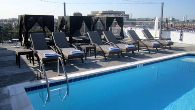 The 450 square foot pool at the Embassy Row Hotel's newly renovated rooftop.