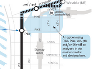 Here's a closer view of the proposed First Avenue streetcar route and where the streetcars would stop.