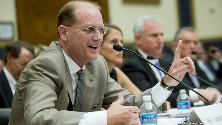 Delta Air Lines CEO Richard Anderson tells the House Financial Services Committee in this file photo that the Export-Import Bank is providing below-market financing to foreign airlines at Delta's expense.