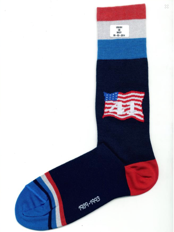 Houston-based luxury retailer M Penner is selling these socks in honor of George H.W. Bush's 25th anniversary of his presidency. The cost? $41