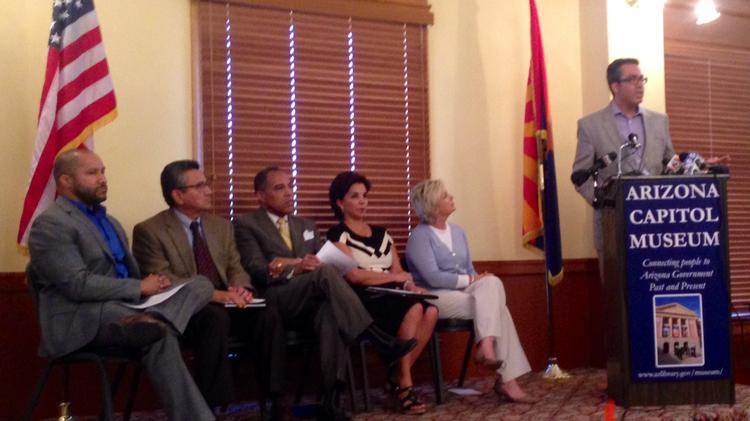 Minority business leaders held a press conference Wednesday afternoon to renounce Arizona Superintendent of Public Instruction John Huppenthal's anonymous blog comments. Pictured from left are Lawrence Robinson, Daniel Ortega, Michael Kelly, Lisa Urias, Lisa Graham Keegan and Gonzalo de la Melena.