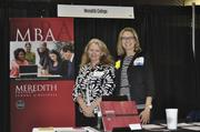 Page Midyette (left) and Allison Anthony of Meredith College promoted the school's MBA program.