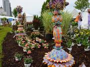 The festival's sculpture garden provided color on a dreary day.