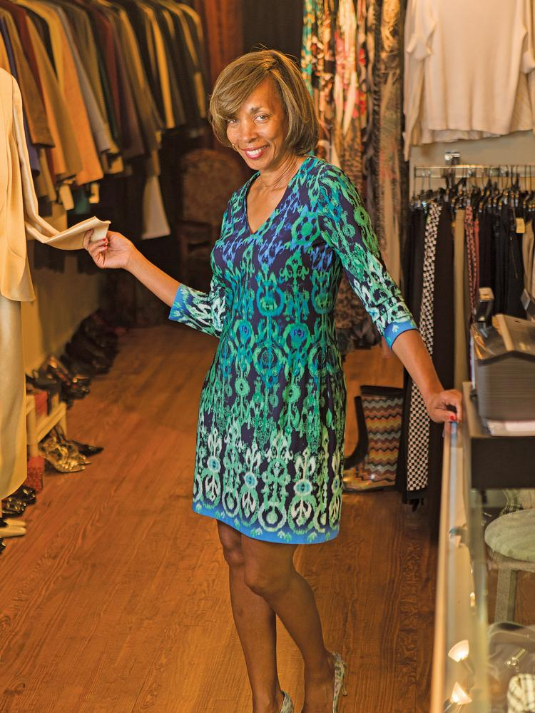 State Senator Catherine Pugh in her Pigtown consignment store, 2 Chic Boutique.