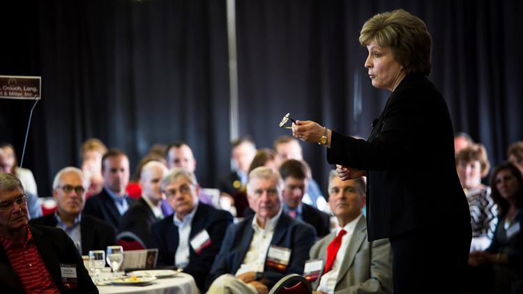 Debbie Yow, NCSU Athletics Director, speaks to the audience at Triangle Business Journal's Power Breakfast on June 26, 2014.