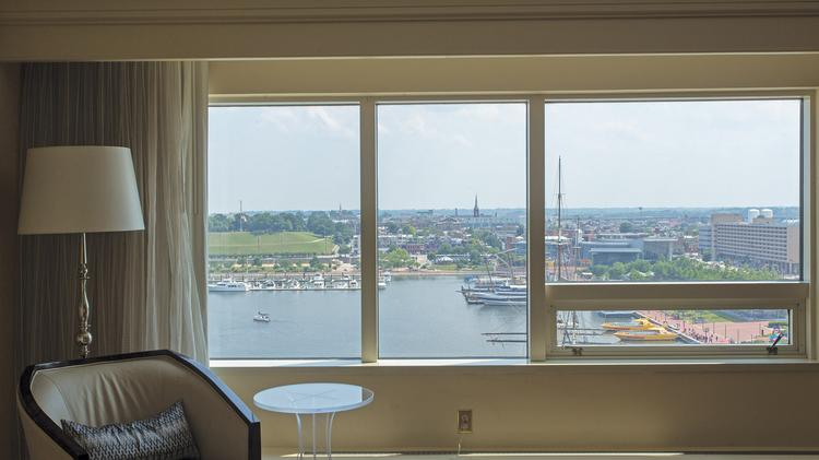 The presidential suite at the Renaissance Hotel boasts uncompromised views of the Inner Harbor.
