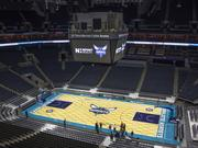 The new Charlotte Hornets logo made its debut on the home-court floor at Time Warner Cable Arena on Thursday.