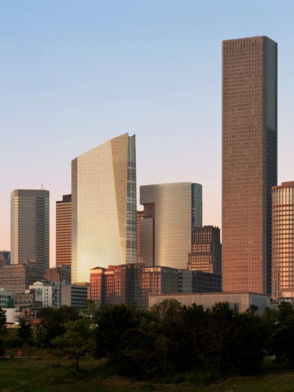 If all the new office buildings on the drawing books are built, they would drastically change Houston's downtown skyline. Pictured is the skyline with 609 Main at Texas (slanted roof).