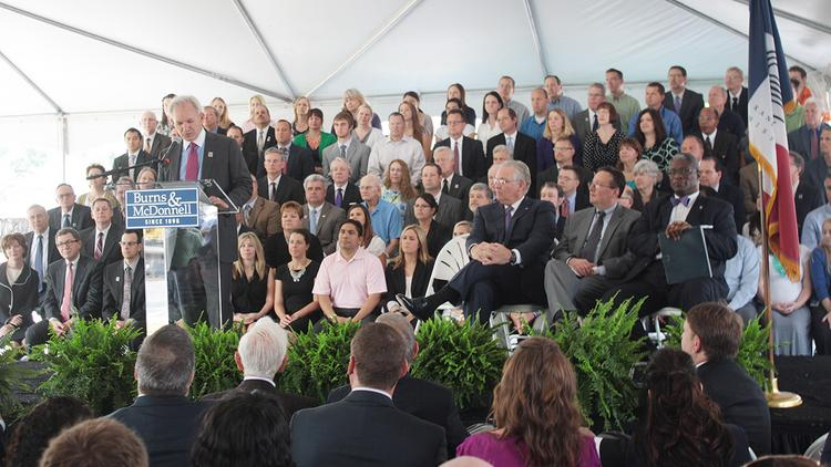Burns & McDonnell CEO Greg Graves speaks during the groundbreaking for the engineering firm's headquarters expansion in south Kansas City.