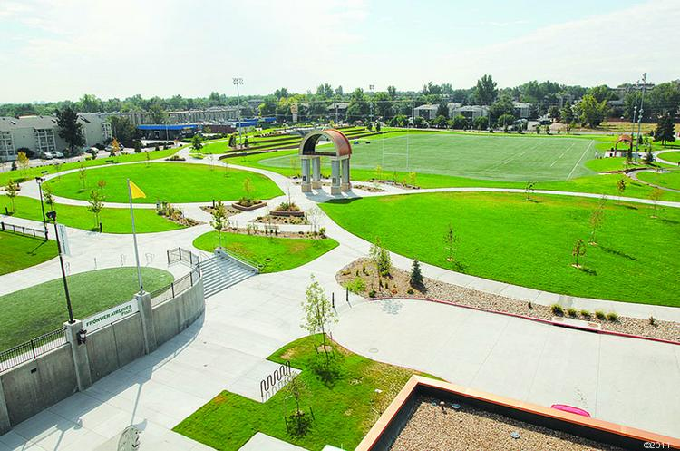 Glendale's plans include a new north-south connection on Birch Street between Cherry Creek Drive and Virginia Avenue with a pedestrian and automobile bridge, which will provide access to the riverwalk development and a connection to Infinity Park, pictured.