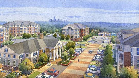 A rendering of Alexander Village, the 320-unit complex now open in Charlotte's University City.