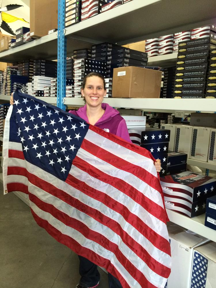 Kourtney Bailey, co-owner of Tacoma-based Flags A' Flying, says it's a banner year for sales. This family-owned company makes any size flag and custom-builds any size pole.