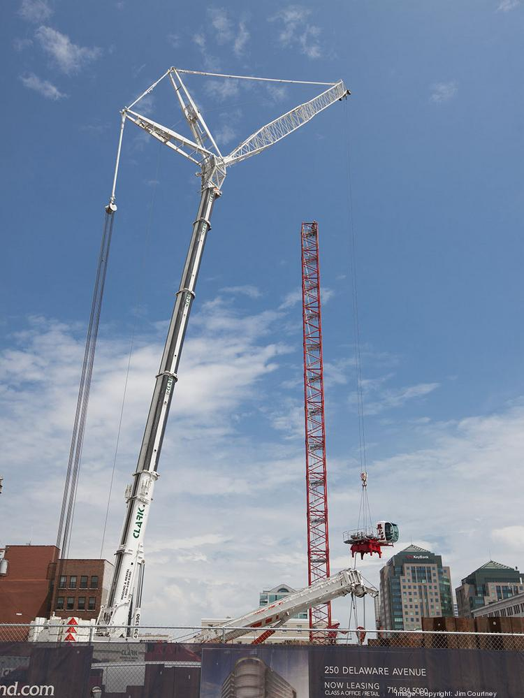 Uniland Development Co. has installed a 270-foot-tall crane necessary to help build its new, $110 million mixed-use building at 250 Delaware Avenue.
