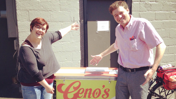 Chef Bethany Nelson and owner Brian Gioielli pose with the Geno's Gelato food bike. The food bike was custom made by a firm in Portland, Ore.