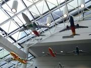 Models of the various Southwest Airlines paint schemes hang from the ceiling at the airline's Dallas headquarters.
