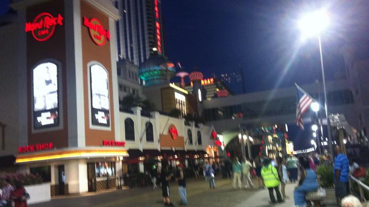 Night falls on Atlantic City on June 19th. The soon-to-close Showboat Casino Hotel is in the background.