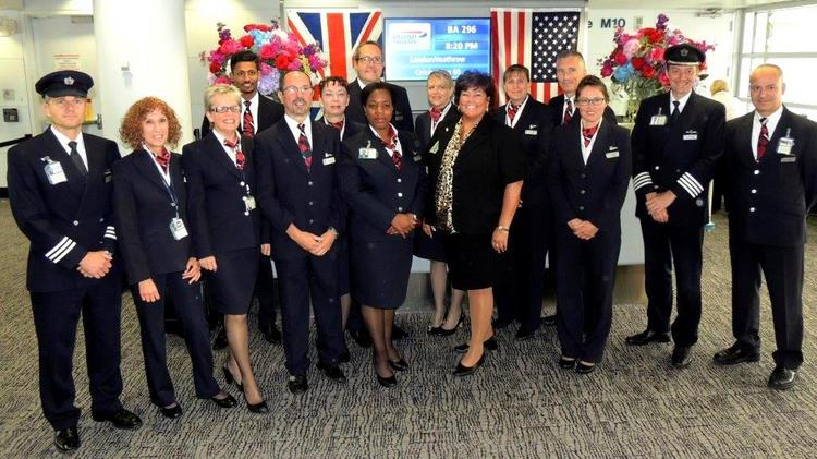 British Airways' flight crew and its O'Hare operations team gather to celebrate 60 years of service between Chicago and London.