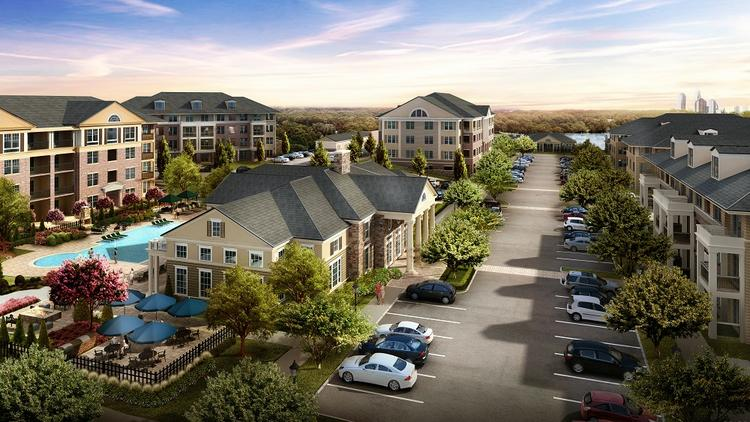 A rendering of Alexander Village, the 320-unit complex in University City that is now open.