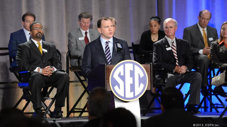 ESPN SVP Justin Connolly speaks during the ESPN - SEC Announcement Press Conference.