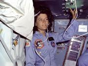 Sally Ride first orbited on the space shuttle Challenger at 32.