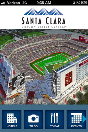 With the San Francisco 49ers stadium, Apple's spaceship and Nvidia's new campus all in the works, the Santa Clara Convention and Visitors Bureau is unveiling new iPhone tourism app called Visit Santa Clara.