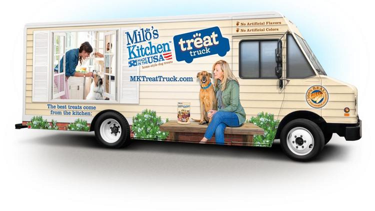 """Capitalizing on the popularity of mobile food vendors, dog food company Milo's Kitchen, a division of San Francisco-based Big Heart Pet Brands (formerly Del Monte Foods' Pet Products), is launching a marketing campaign that will use a """"Treat Truck"""" to bring dog treats to San Francisco's four-legged customers."""