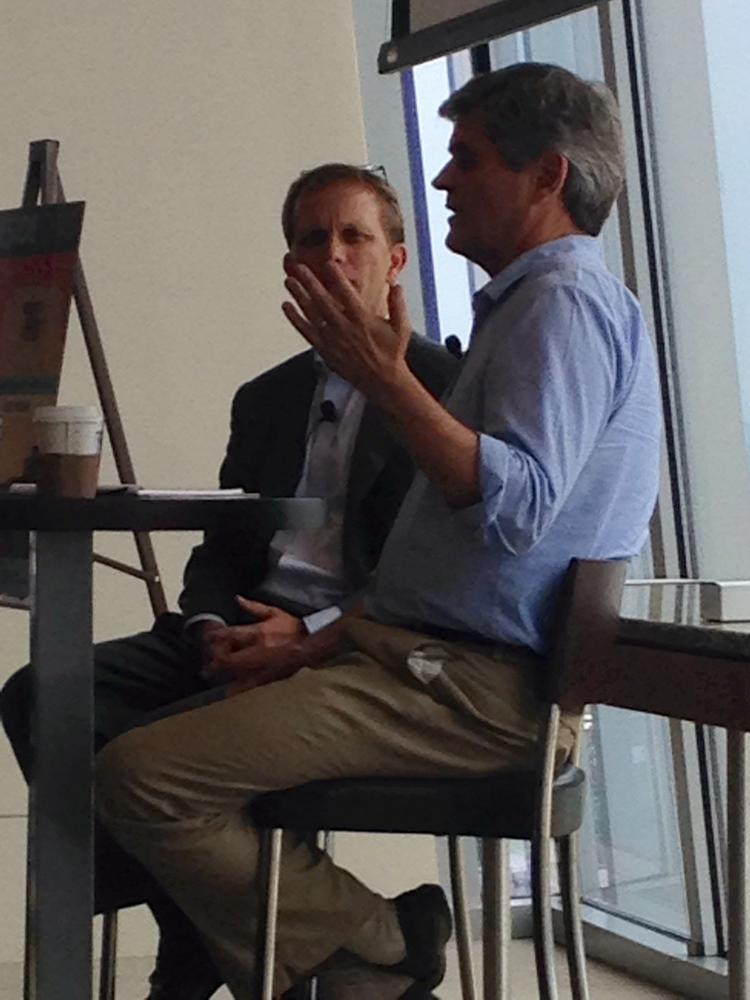 Steve Case, right, chats with Ingram Content Group CEO John Ingram.