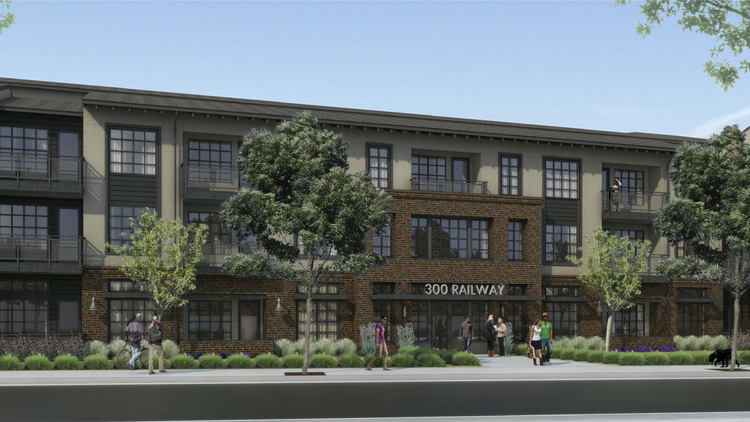 St. Anton Capital is designing a rental project with an industrial, loft feel for this project at 300 Railway Ave. in Campbell. The architect is KTGY Group Inc.