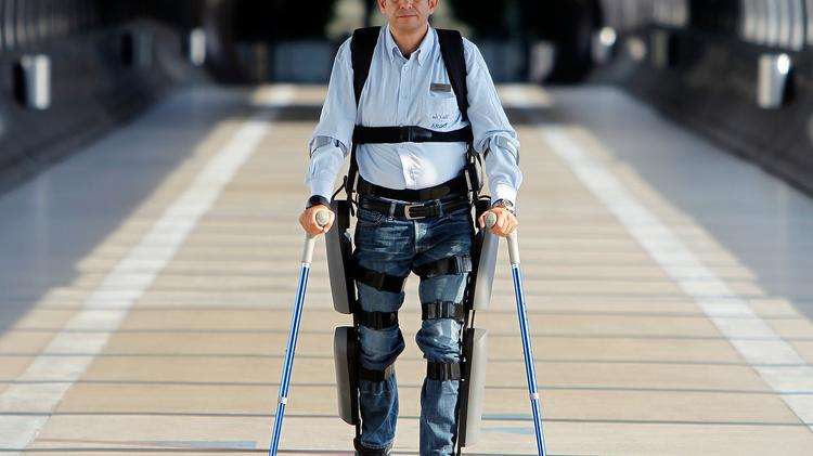 Using the robotic legs, backpack and with the assistance of crutches, paraplegics can walk again using ReWalk.