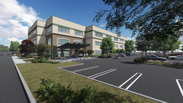 A rendering shows a medical office building planned for construction at Sutter Health's Roseville campus.