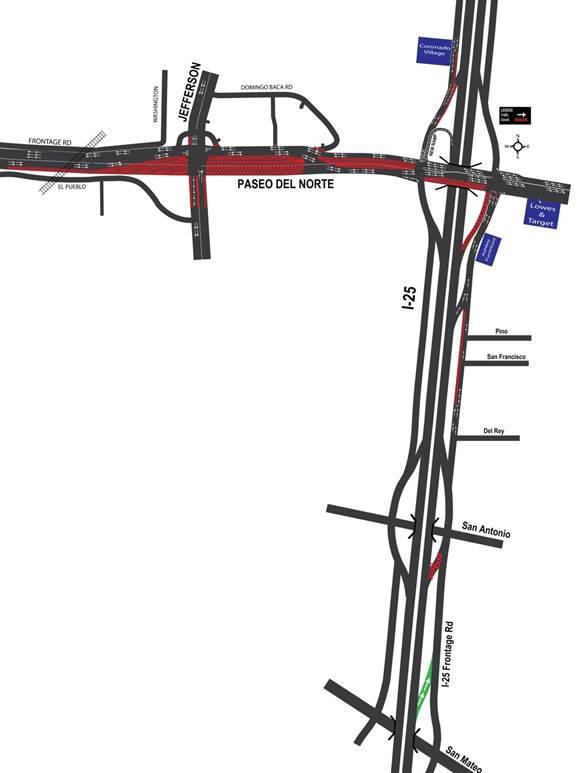 Beginning today and lasting through Thursday, I-25 northbound will have the right lane closed at Paseo Del Norte each day from 9 a.m. to 3 p.m.