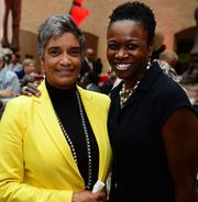 Camille Russell Love with the City of Atlanta Office of Cultural Affairs and Danita V. Knight, chair of the Atlanta Women's Foundation.