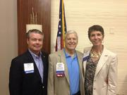 New NCEDA President Michael Smith, left, poses with former NCEDA presidents Mark Clasby, center, and Linda Weiner.