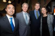 The April 26 parties continued into the wee hours of Saturday morning. Many made a late night stop at the Making News party, hosted by The Atlantic, National Journal and OurTime. From left, Rep. Joaquin Castro, D-Texas; Michael Oren, Israeli ambasador; Steve Clemons of the Atlantic; and Sally Oren.