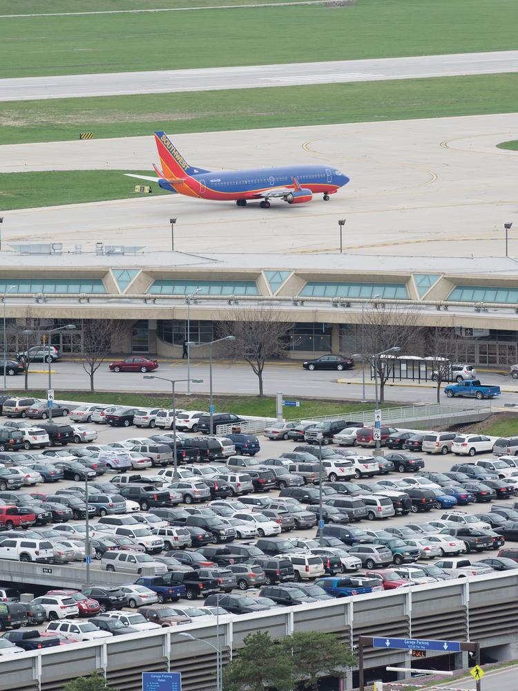 KCI from the control tower showing Southwest Airlines jet taxing past Terminal B.