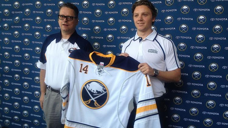 Buffalo Sabres General Manager Tim Murray and the team's first-round draft pick, Sam Reinhart