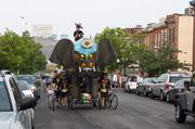 Bumpo under the Domino Sugar sign at the 2012 Baltimore Kinetic Sculpture Race.